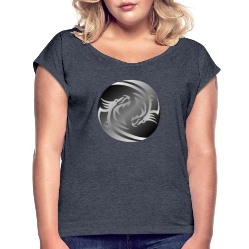 Yin Yang Dragon - Women's T-Shirt with rolled up sleeves
