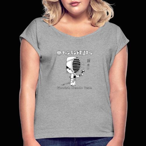 Kenshi w. Finnish Flag v2 - Naisten T-paita, jossa rullatut hihat