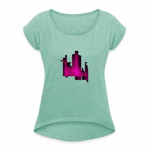 Abstract graphic - T-shirt à manches retroussées Femme