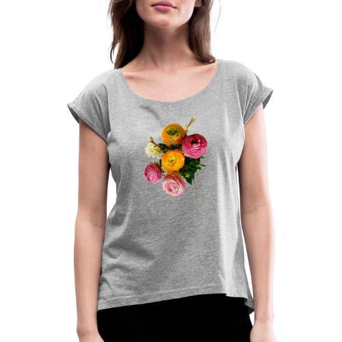 Bouquet de renoncules - T-shirt à manches retroussées Femme