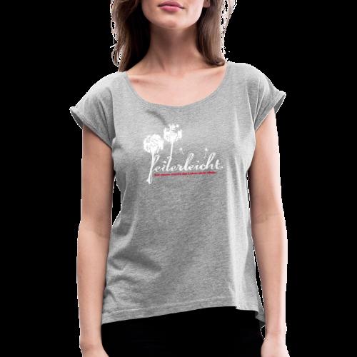 geweihbär Federleicht - Frauen T-Shirt mit gerollten Ärmeln