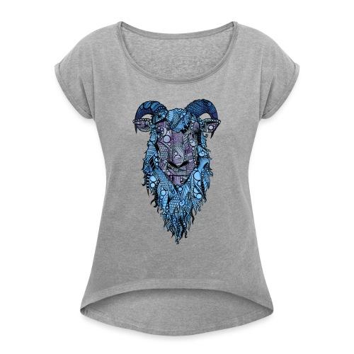 Sau - T-skjorte med rulleermer for kvinner