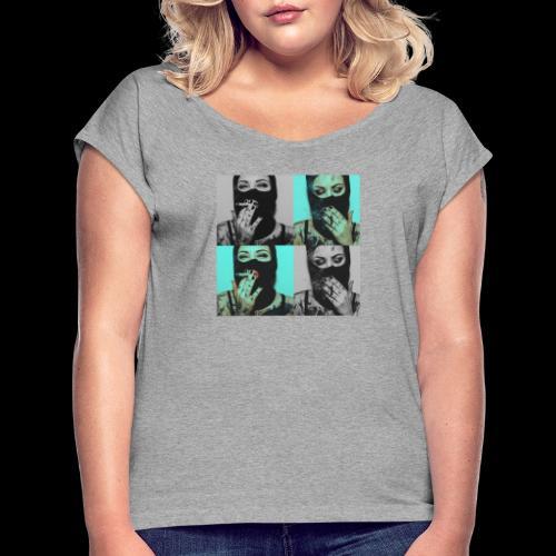 Caviar design presenting  The lady's - Frauen T-Shirt mit gerollten Ärmeln