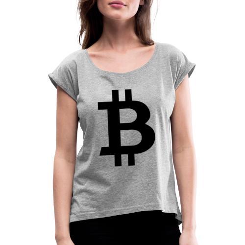 Bitcoin black - T-shirt med upprullade ärmar dam