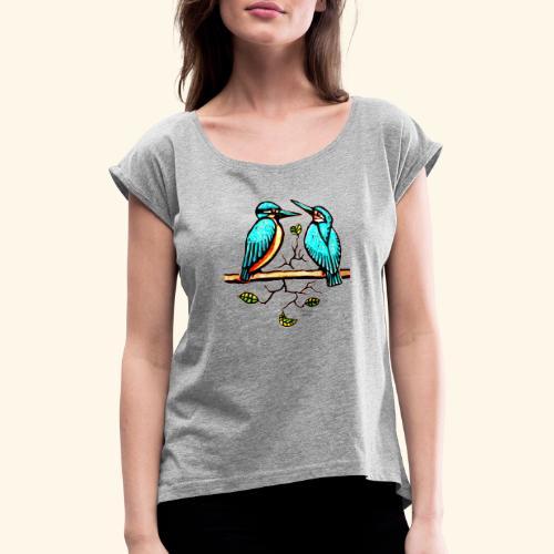 Eisvogel Paar farbe - Frauen T-Shirt mit gerollten Ärmeln
