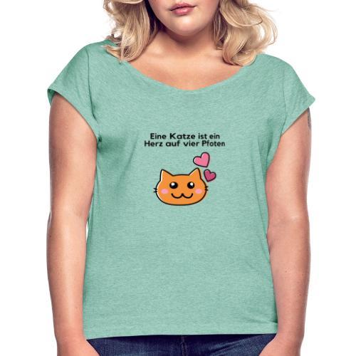 Vier Pfoten - Frauen T-Shirt mit gerollten Ärmeln