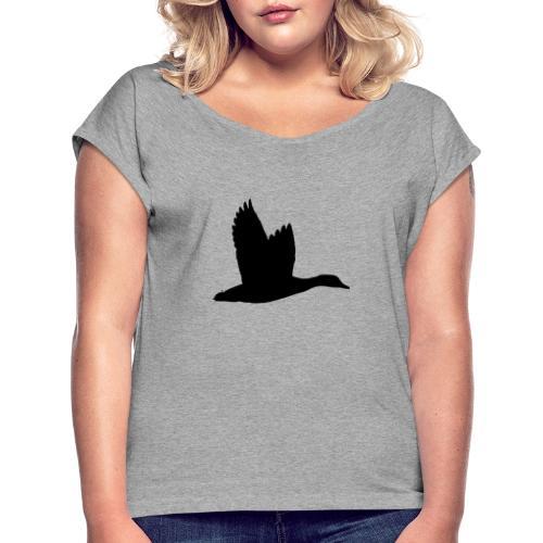 T-shirt canard personnalisé avec votre texte - T-shirt à manches retroussées Femme