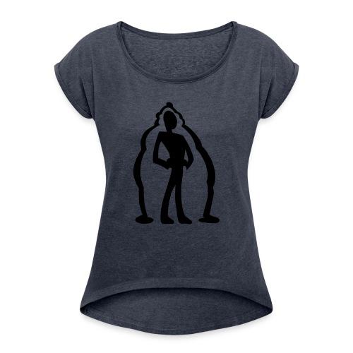 logo2 - T-shirt med upprullade ärmar dam