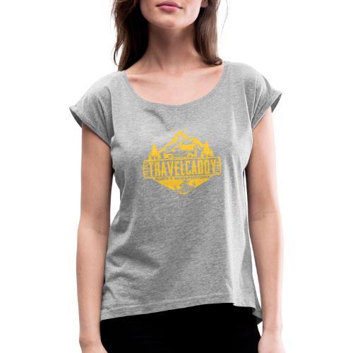 Original Travelcaddy.de Merchandise - Frauen T-Shirt mit gerollten Ärmeln