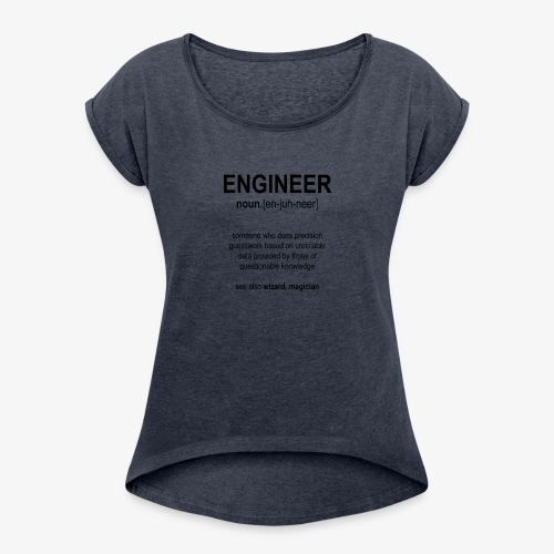Engineer Def. 1 (Black) - T-shirt à manches retroussées Femme