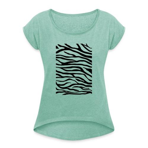 zebra v6 - Vrouwen T-shirt met opgerolde mouwen