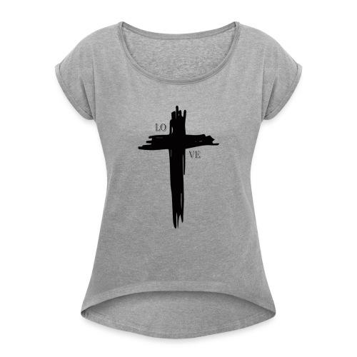 GOD BLESS - Camiseta con manga enrollada mujer
