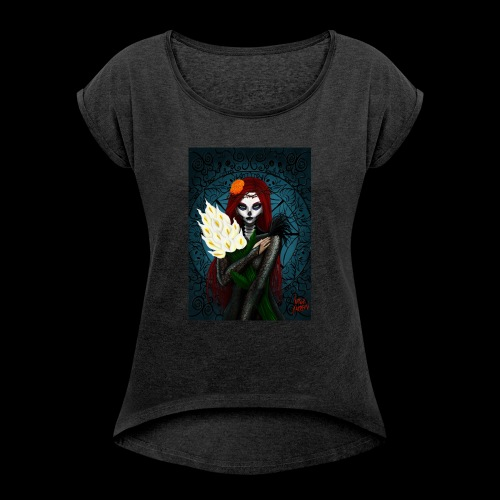 Death and lillies - Women's T-Shirt with rolled up sleeves