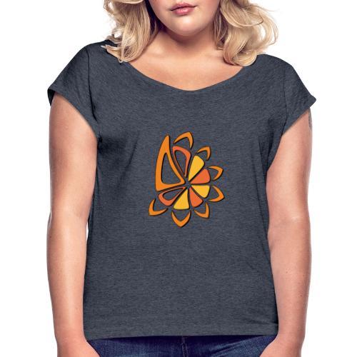 spicchi di sole caldo multicolore - Maglietta da donna con risvolti