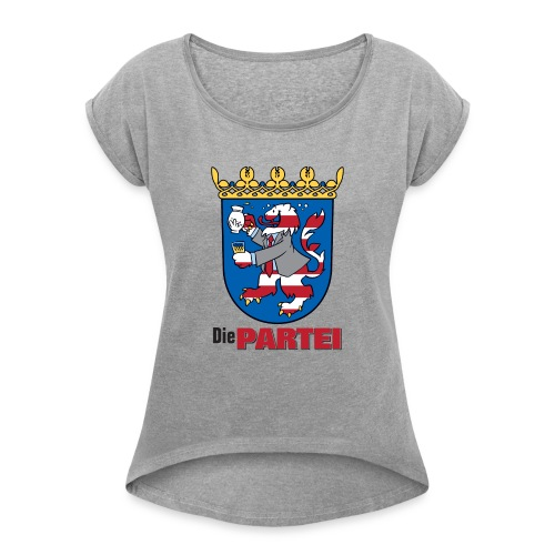 partei hessen wappen - Frauen T-Shirt mit gerollten Ärmeln