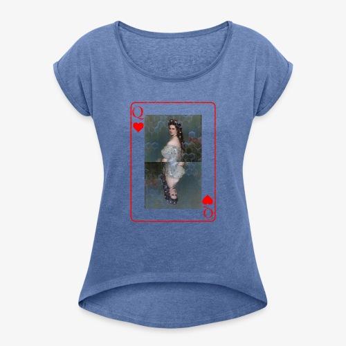 Kaiserin Sissi spielkarte Österreich - Frauen T-Shirt mit gerollten Ärmeln