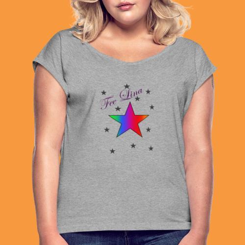 Fee Lina Star - Frauen T-Shirt mit gerollten Ärmeln