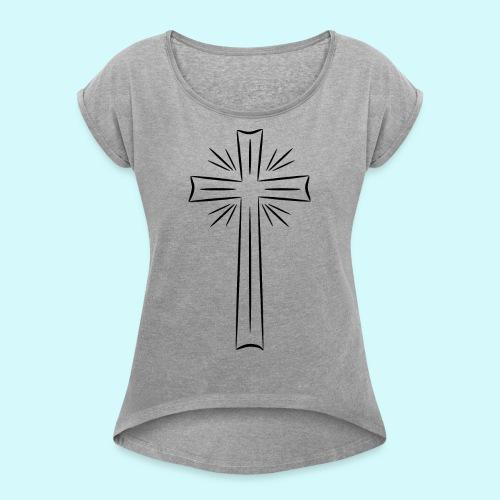 Kreuz schwarz - Frauen T-Shirt mit gerollten Ärmeln
