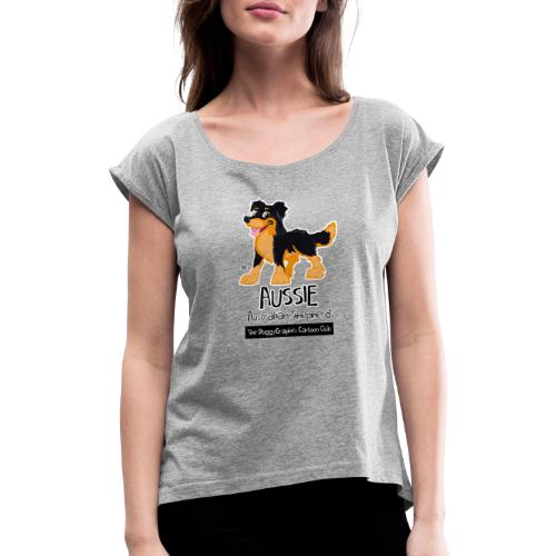 Aussie CartoonClub - Black & Tan - Women's T-Shirt with rolled up sleeves