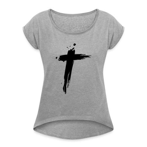Cross - Vrouwen T-shirt met opgerolde mouwen