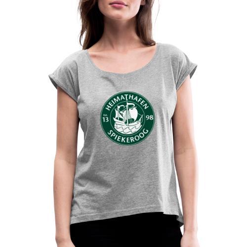Heimathafen Logo Grün - Frauen T-Shirt mit gerollten Ärmeln