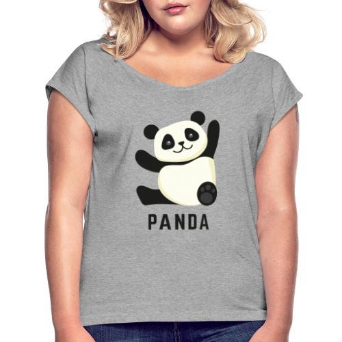 Schattige Panda - Vrouwen T-shirt met opgerolde mouwen