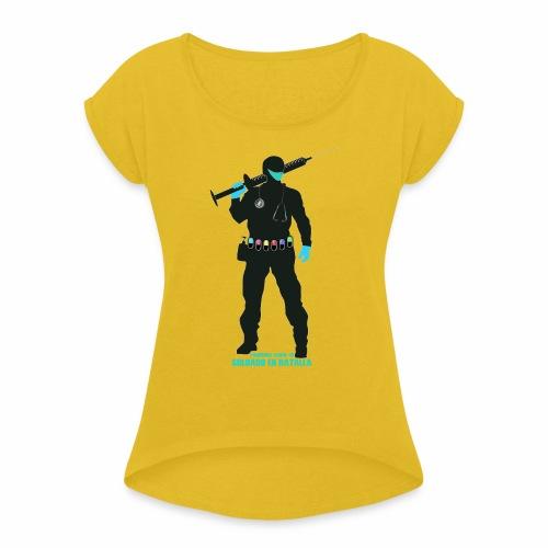 Nuestros Heroes - Camiseta con manga enrollada mujer