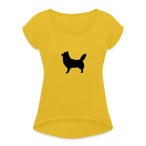 Chihuahua pitkakarva musta - Naisten T-paita, jossa rullatut hihat