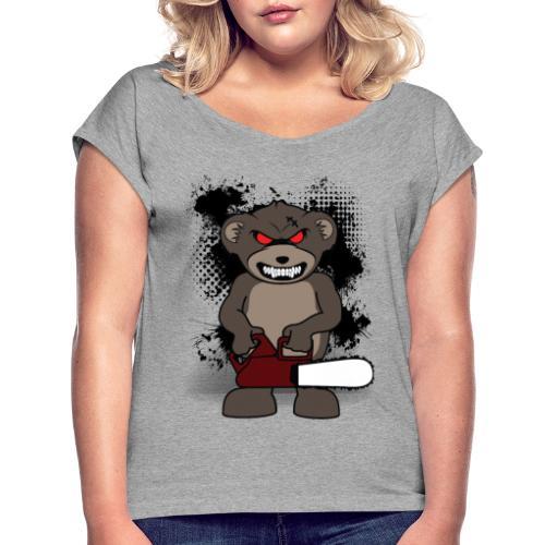 bear 1 - Frauen T-Shirt mit gerollten Ärmeln