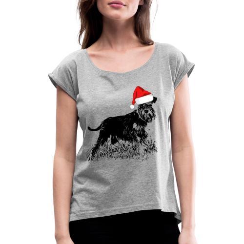 Weihnachten Zwergschnauzer Hund Schnauzer Geschenk - Frauen T-Shirt mit gerollten Ärmeln