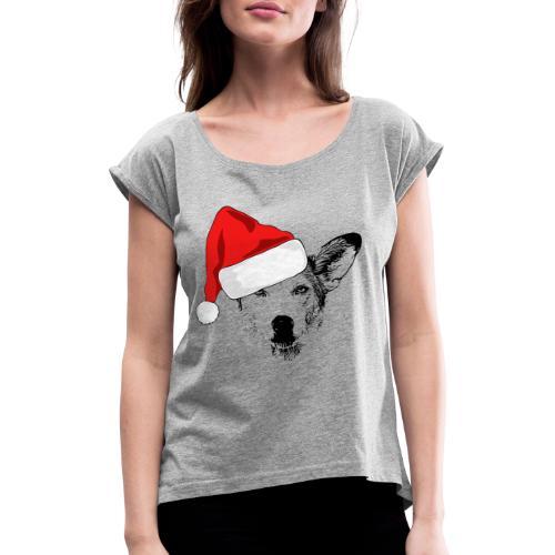 Weihnachten Podenco-Mix Hund Geschenk Podimix - Frauen T-Shirt mit gerollten Ärmeln