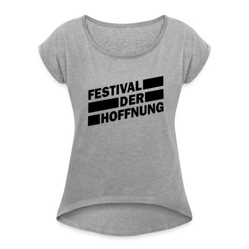 schwarz png - Frauen T-Shirt mit gerollten Ärmeln