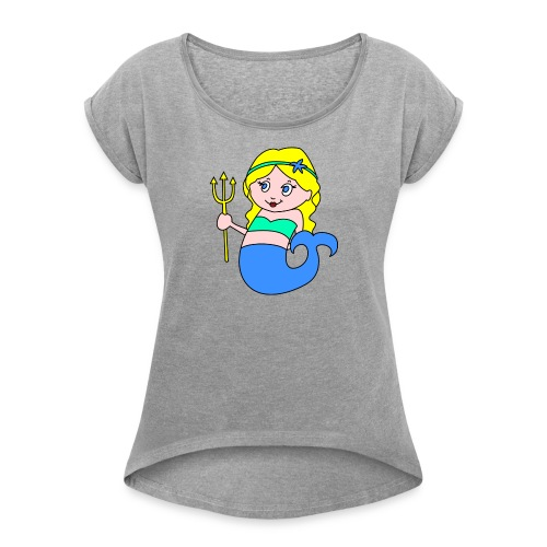 little mermaid blonde - Women's T-Shirt with rolled up sleeves