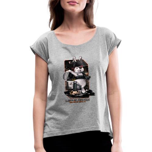 Lepus Pirata Machina - Vrouwen T-shirt met opgerolde mouwen