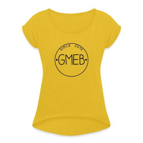 doorschijnend logo ZWART - Vrouwen T-shirt met opgerolde mouwen