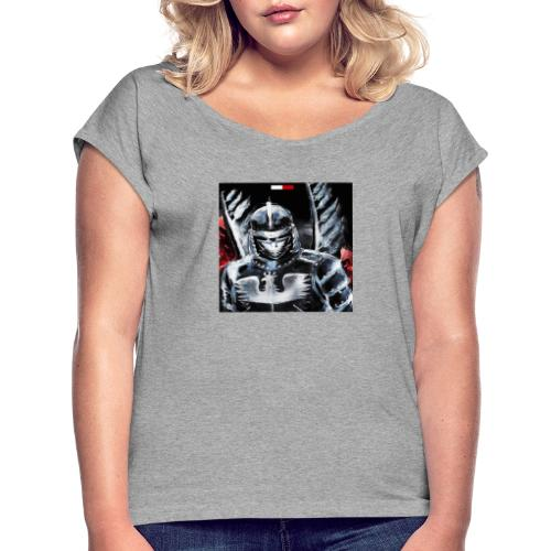 koszulka patriotyczna husaria - Koszulka damska z lekko podwiniętymi rękawami