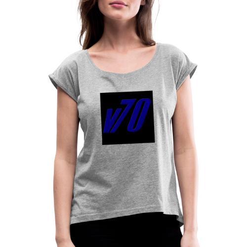 v70tryck - T-shirt med upprullade ärmar dam
