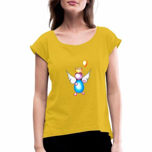 Mettalic Angel geluk - Vrouwen T-shirt met opgerolde mouwen