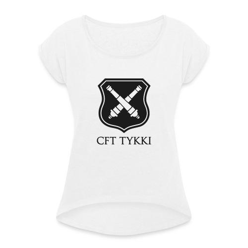 Tykki logo musta - Naisten T-paita, jossa rullatut hihat