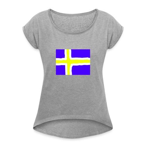 SwedishFlag Caps - T-skjorte med rulleermer for kvinner