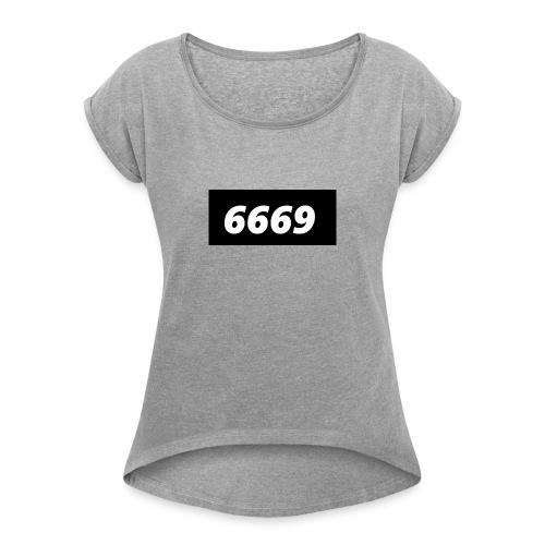 6669 box - Koszulka damska z lekko podwiniętymi rękawami