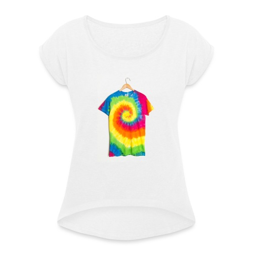 tie die small merch - Women's T-Shirt with rolled up sleeves