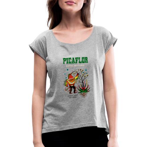 teepicanewblack3 copy - T-skjorte med rulleermer for kvinner