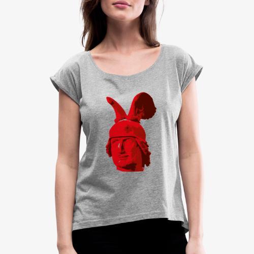 Kopf des Hermannsdenkmals - Frauen T-Shirt mit gerollten Ärmeln
