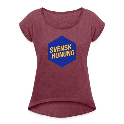 Svensk honung Hexagon Blå/Gul - T-shirt med upprullade ärmar dam