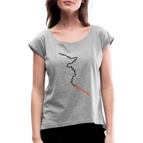 trailrunning rocks - Frauen T-Shirt mit gerollten Ärmeln