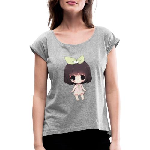 Cute anime girl chibi - Women's T-Shirt with rolled up sleeves