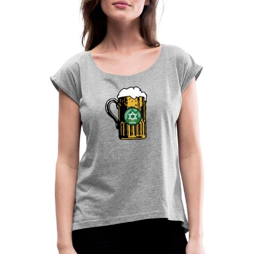 Zoigl Krug Shirt - Frauen T-Shirt mit gerollten Ärmeln