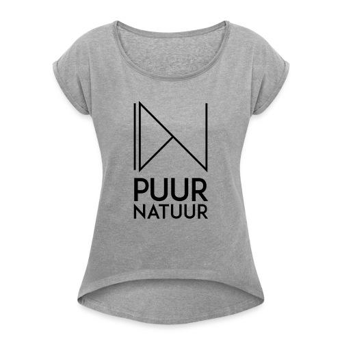 PUUR NATUUR FASHION BRAND - Vrouwen T-shirt met opgerolde mouwen
