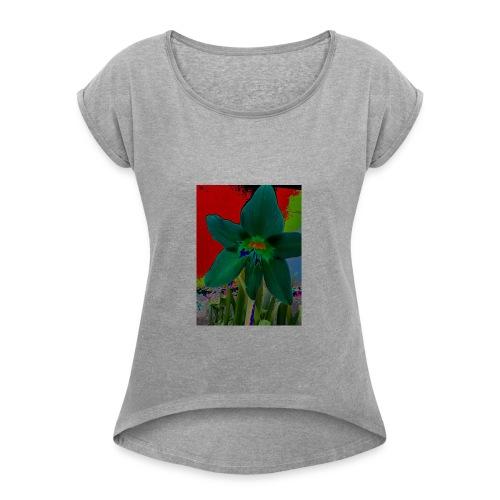 lirio - Camiseta con manga enrollada mujer
